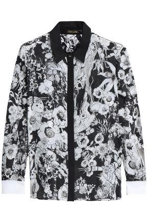 ROBERTO CAVALLI Printed silk-crepe shirt