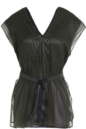BRUNELLO CUCINELLI Belted pintucked tulle top