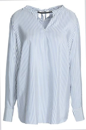 BRUNELLO CUCINELLI Bead-embellished cutout striped silk tunic