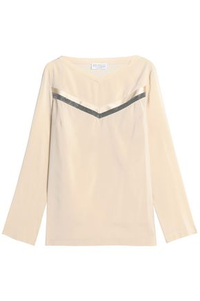BRUNELLO CUCINELLI Bead-embellished stretch-silk crepe de chine blouse