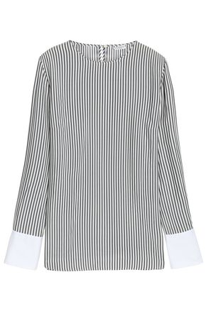 BRUNELLO CUCINELLI Bead-embellished striped silk blouse