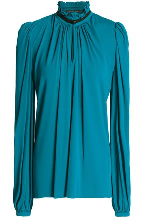 ROBERTO CAVALLI Gathered ruffle-trimmed stretch-jersey blouse