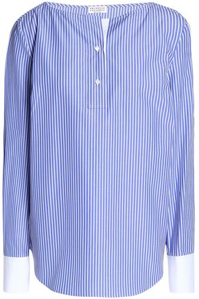 BRUNELLO CUCINELLI Striped cotton-poplin tunic