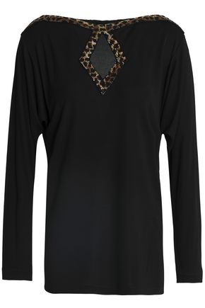 ROBERTO CAVALLI Cutout bead-embellished stretch-jersey top