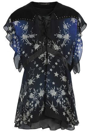 ROBERTO CAVALLI Ruffled studded printed silk-voile top