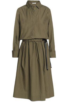 BRUNELLO CUCINELLI Gathered cotton-poplin midi dress