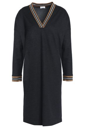 BRUNELLO CUCINELLI Ribbed knit-trimmed wool and cotton-blend dress