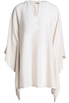 BRUNELLO CUCINELLI Asymmetric embellished stretch-silk top
