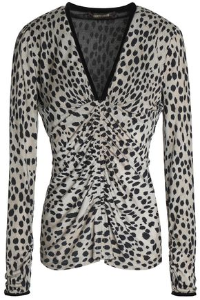 ROBERTO CAVALLI Ruched leopard-print silk and wool-blend top