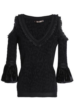 ROBERTO CAVALLI Cold-shoulder velvet-trimmed jacquard-knit top