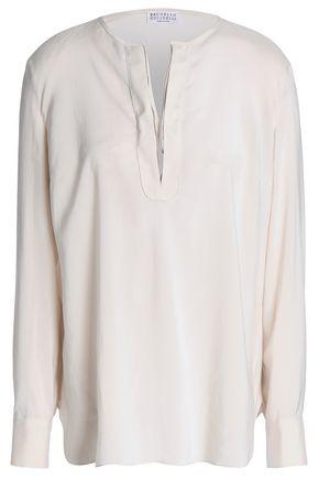 BRUNELLO CUCINELLI Bead-embellished stretch-silk tunic