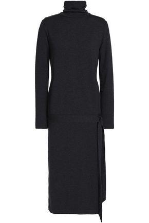 BRUNELLO CUCINELLI Bead-embellished wool-blend turtleneck midi dress