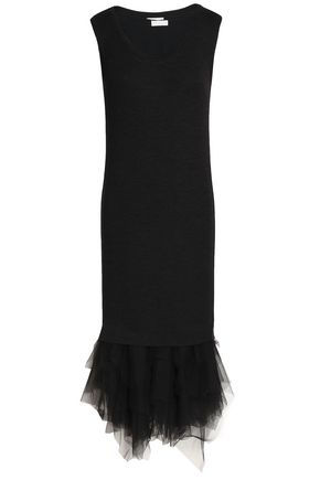 BRUNELLO CUCINELLI Tulle-paneled wool midi dress