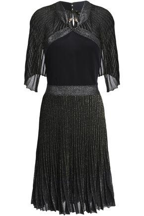 ROBERTO CAVALLI Cape-effect metallic knitted dress