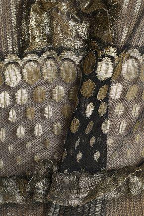 ROBERTO CAVALLI Ruffle-trimmed metallic lace mini dress