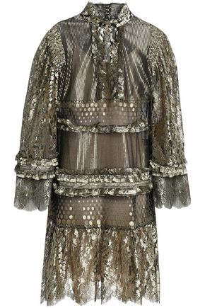 ROBERTO CAVALLI Ruffle-trimmed metallic lace mini dress