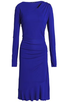 ROBERTO CAVALLI Embellished gathered stretch-jersey mini dress