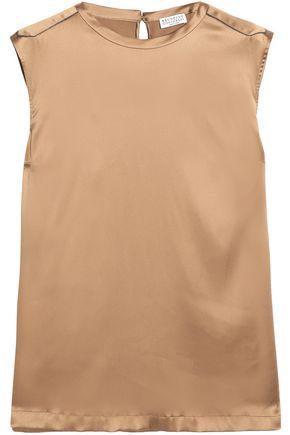 BRUNELLO CUCINELLI Bead-embellished silk-blend satin top