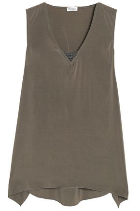 BRUNELLO CUCINELLI Bead-embellished washed silk-blend top