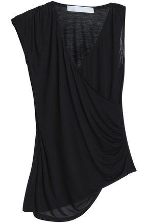 KAIN Asymmetric wrap-effect modal and silk-blend jersey top