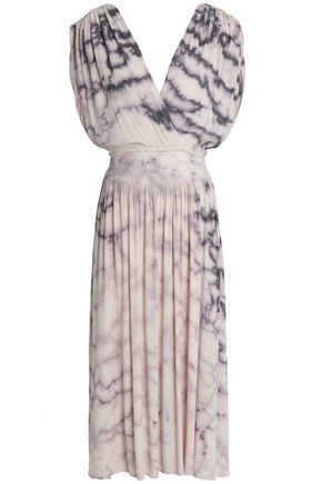 KAIN Wrap-effect tie-dye crepe de chine dress