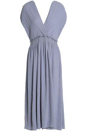 KAIN Wrap-effect ruched cotton midi dress