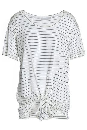 KAIN Tie-front striped modal and silk-blend jersey T-shirt
