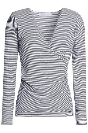 KAIN Wrap-effect striped stretch-knit top
