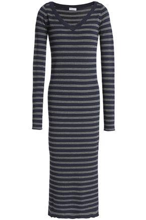 BRUNELLO CUCINELLI Metallic striped wool and cashmere-blend midi dress