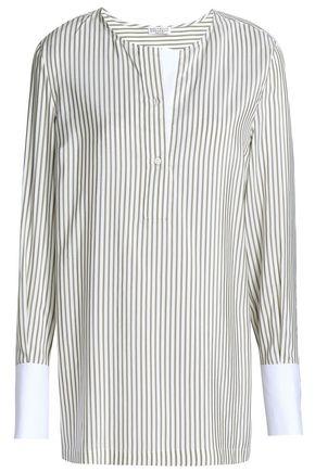 BRUNELLO CUCINELLI Striped silk crepe de chine blouse