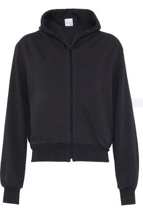 VETEMENTS Embroidered French cotton-blend terry hooded sweatshirt