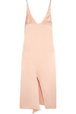 TIBI Draped satin slip dress