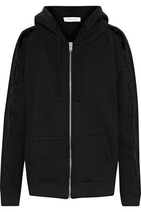 IRO Nazko lace-up cotton-jersey hooded jacket