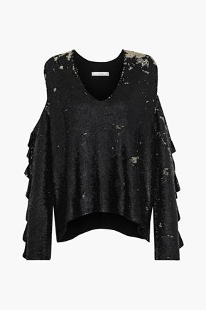 IRO Waleast cold-shoulder sequined knitted top