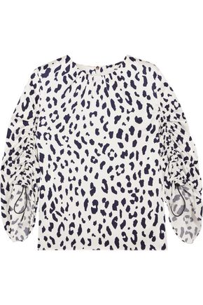 TIBI Gathered leopard-print silk-satin top