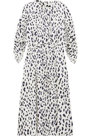 TIBI Gathered leopard-print silk-satin midi dress