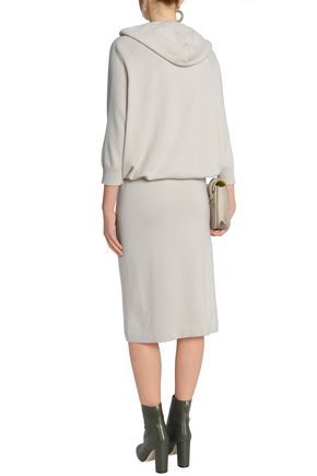BRUNELLO CUCINELLI Gathered bead-embellished cashmere dress