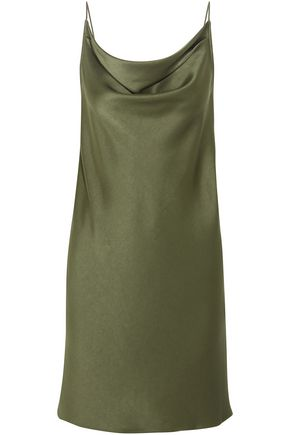 HALSTON HERITAGE Draped satin-crepe slip dress