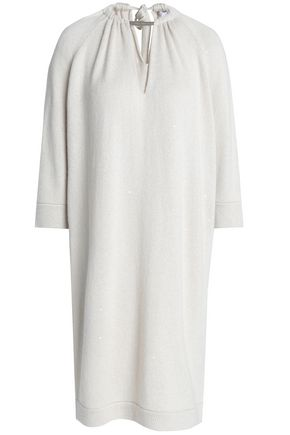 BRUNELLO CUCINELLI Sequin-embellished cashmere and silk-blend dress