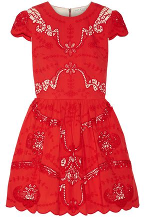ALICE + OLIVIA Karen broderie anglaise cotton mini dress