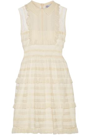 REDValentino Ruffled georgette, point d'esprit and lace mini dress
