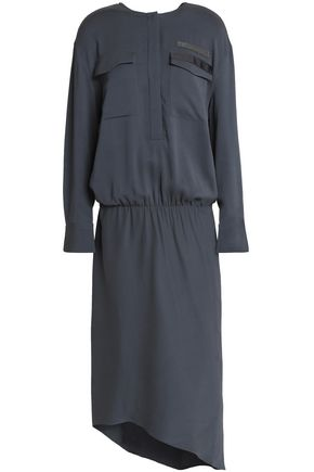 BRUNELLO CUCINELLI Asymmetric embellished crepe midi dress