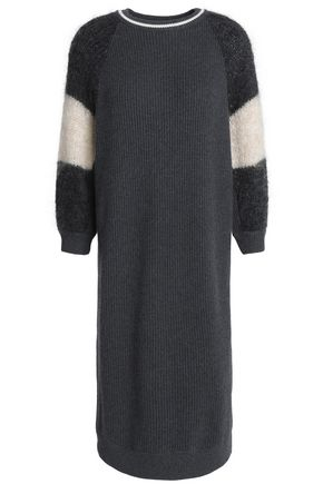 BRUNELLO CUCINELLI Paneled ribbed cashmere dress