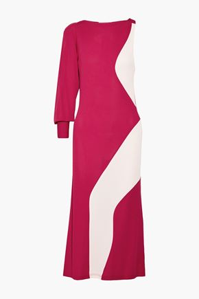 TOME Asymmetric two-tone crepe midi dress