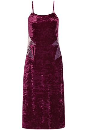 ANNA SUI Starburst crushed-velvet slip dress