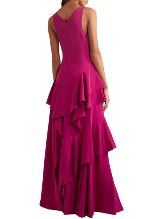 HALSTON HERITAGE Ruffled cady gown