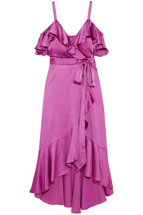 TEMPERLEY LONDON Carnation cold-shoulder ruffled satin midi dress