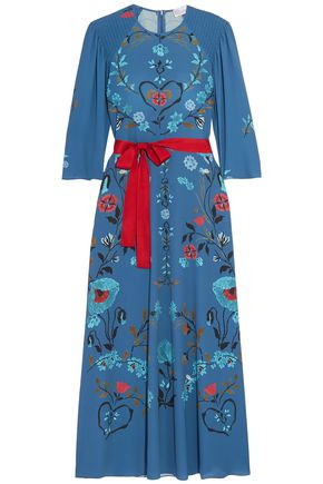 REDValentino Belted printed crepe midi dress