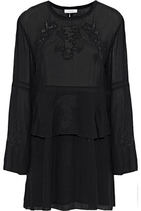 IRO Grecia lace-trimmed crinkled-voile mini dress