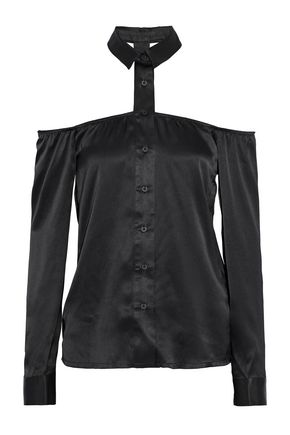 RTA Frankie cutout silk-satin shirt
